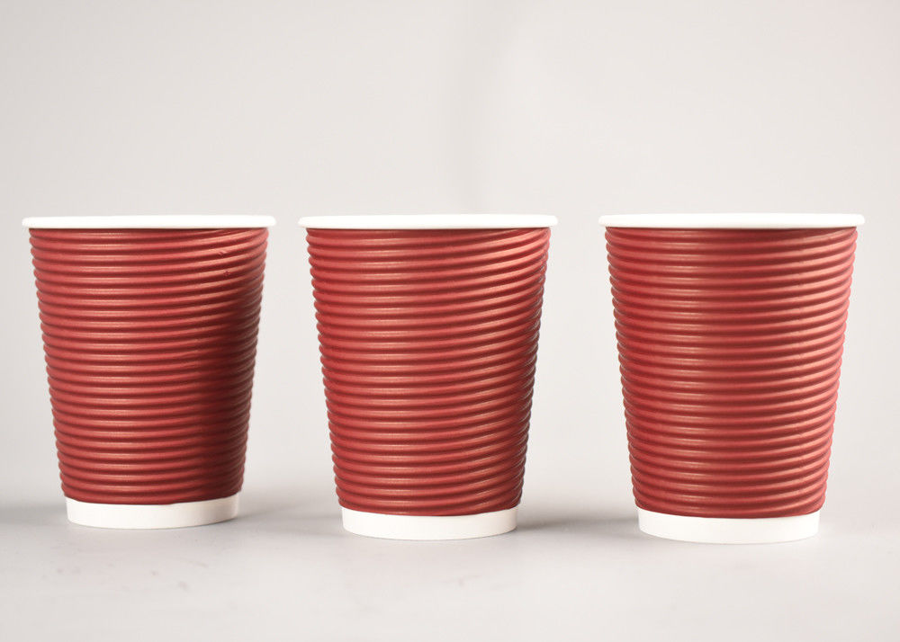 Corrugated Disposable Ripple Coffee Cups , Triple Wall Paper Coffee Cups