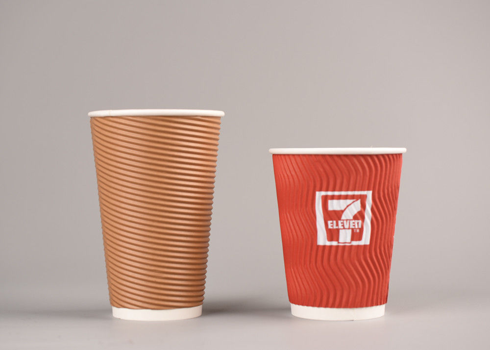Printing Paper Insulated Drinking Cups With Lids , Reusable Ripple Wrap Hot Cups