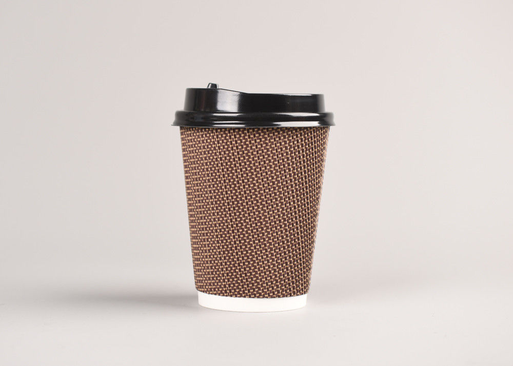 Take Out Triple Wall Cups With Lids , Ripple Paper Coffee Cups For Hot Drinking